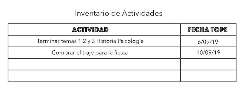 inventario actividades